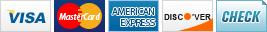 We accept Visa, MasterCard, American Express, Discover and Check.